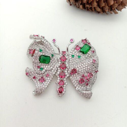 40x48mm Plaqué Or Cz Micro Papillon Broche