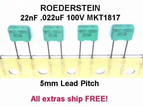 25pcs 22nF 0.022uF 100V Roederstein MKT1817 Capacitors 5mm Pitch NEW NOS