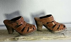 Frye-Brown-Leather-Women-039-s-Clogs-Made-in-Brazil-Size-7-5-B-324
