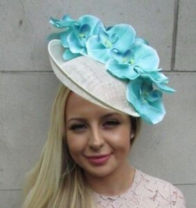 95373e73cfb5b Details about Mint Turquoise Green Cream Large Orchid Flower Saucer Disc  Hat Fascinator 5845