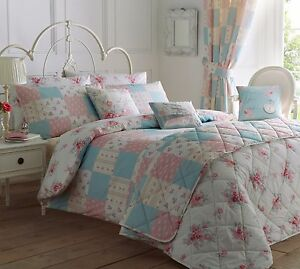 Image Is Loading Rose Pink White Patchwork Quilt Duvet Cover Bedding