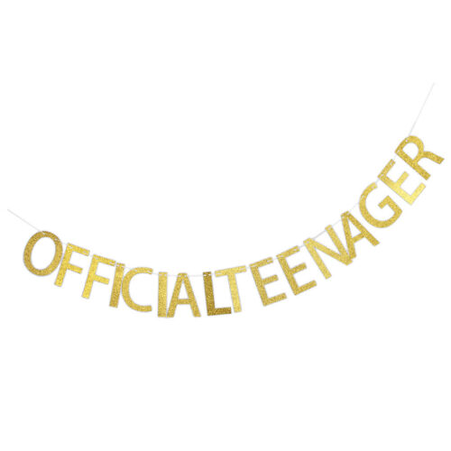 Golden Glitter Official Teenager Banner Garland 13th Birthday Party Decor