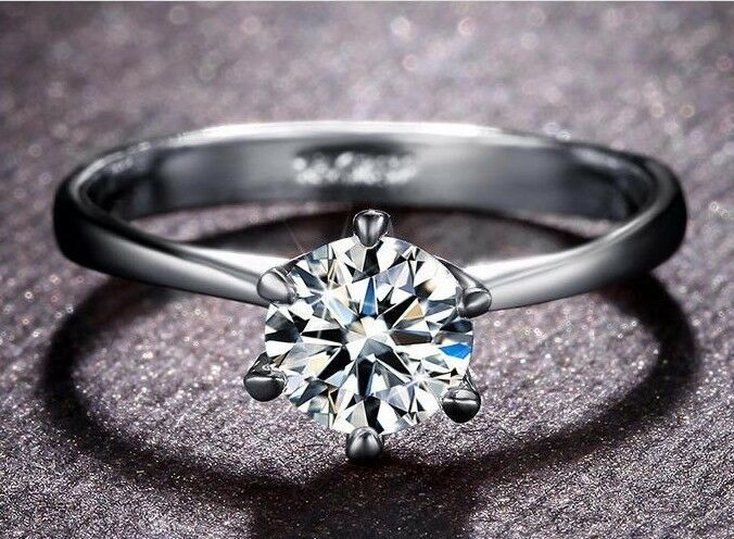 Noble Women's Ring White Gold 18 K Pl. Silver Engagement Ring Gift Idea Present