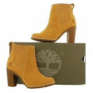 Image is loading Timberland-A1682-Glancy-Chelsea-Womens-Wheat-Leather-Ankle-