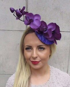 Purple Orchid Flower Fascinator Hat Hair Clip Races Wedding Vintage Lace 3171