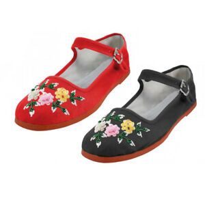 3a7bae4e83d1 Women s Chinese Mary Jane Floral Sequin Cotton Shoes Slippers Red ...