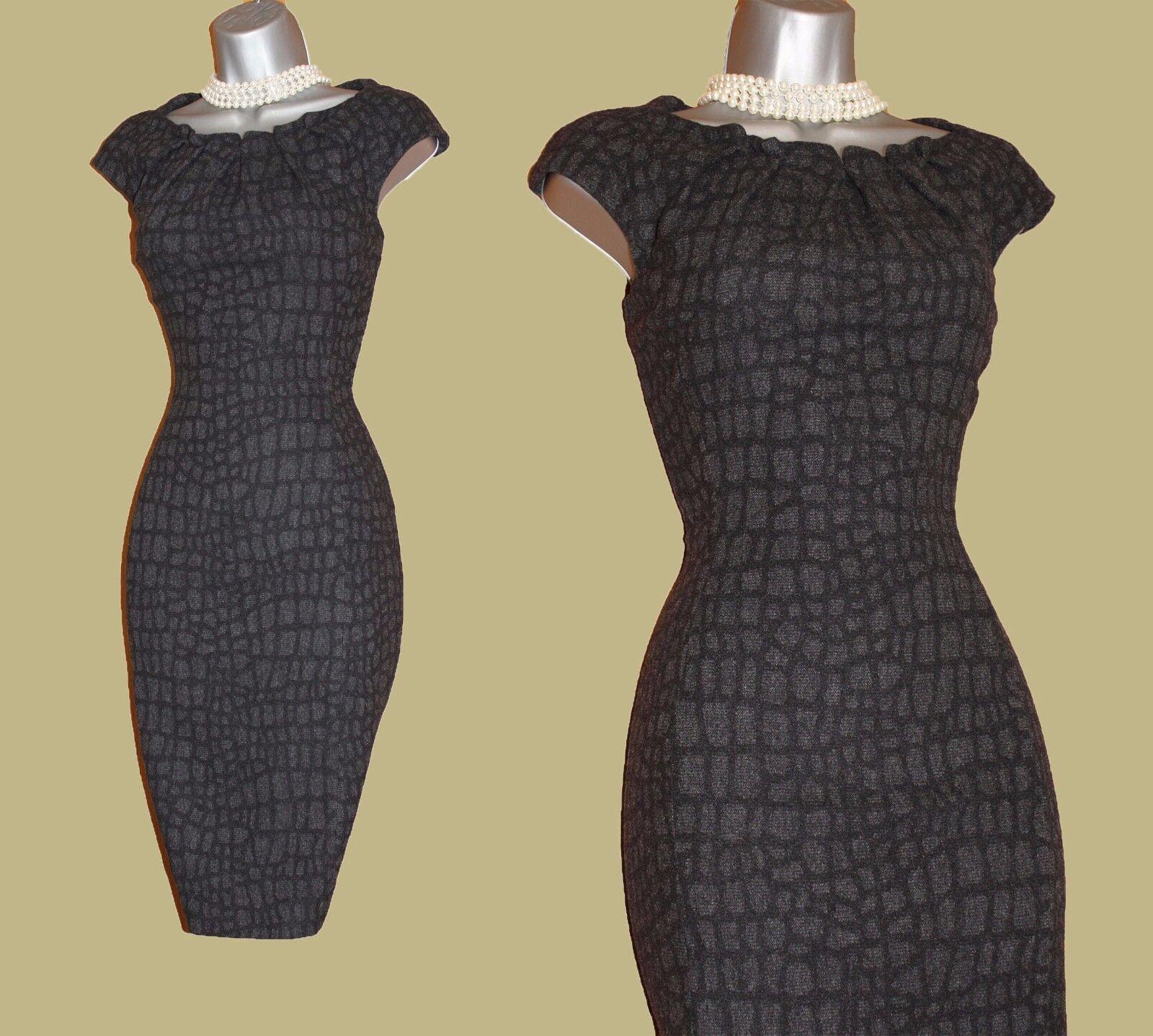 Karen Millen Animal Print Wool Blend Formal Office Pencil Wiggle Dress UK10 EU38