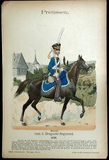 Prusse Cavalier Soldat Dragon Knotel - Gravure Militaria Costume Militaire 19e