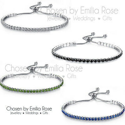 Cubic Zirconia Crystal Tennis Bracelet Silver Bridal Jewellery Bridesmaid Gift