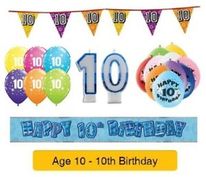Image Is Loading Happy 10th Birthday AGE 10 Party Balloons Banners