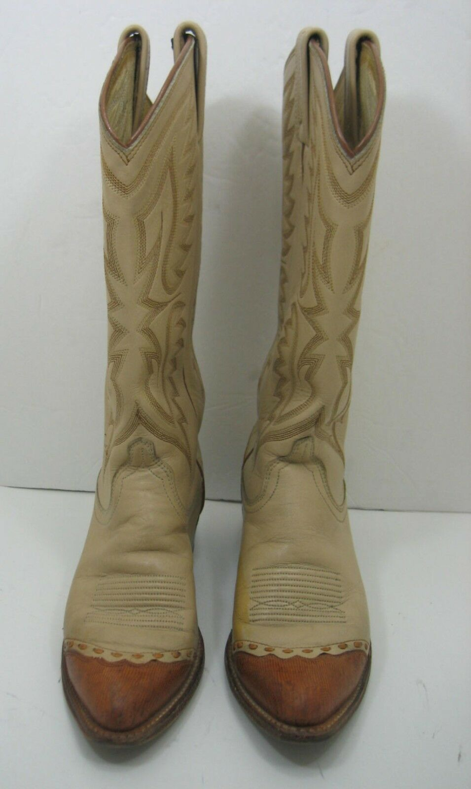 Nice Dan Post Light Tan Cowboy Boots with ReptileToe Caps Womens sz 6 M.