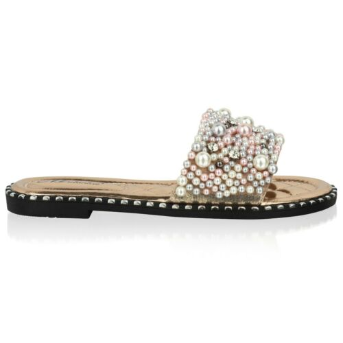 Neu Damen Flach Schieber Pearl Mule Sommer Sandalen Pantoffeln Schuh Größe