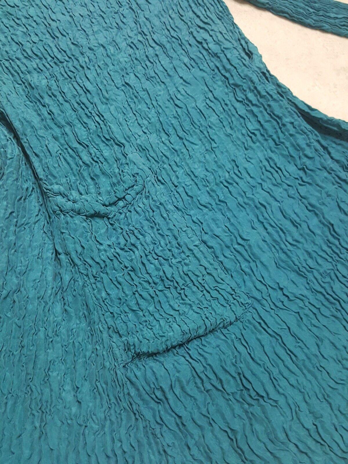 Grizas Crinkled Tunic Dress teal bluee silk pleats pleats pleats please NWT  285 Medium f6df5a