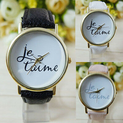Fashion Casual Women Men Je taime Leather Analog Quartz Dial Watch Nice