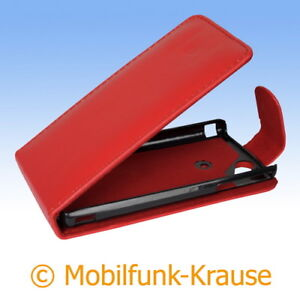 Flip-Case-Etui-Handytasche-Tasche-Hulle-f-Sony-Ericsson-Xperia-Arc-S-Rot