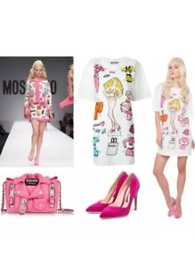 Xs Uk Moschino Capsule Runway Barbie Tshirt 6 Size Couture Mini Dress Collection nwwYRAHq