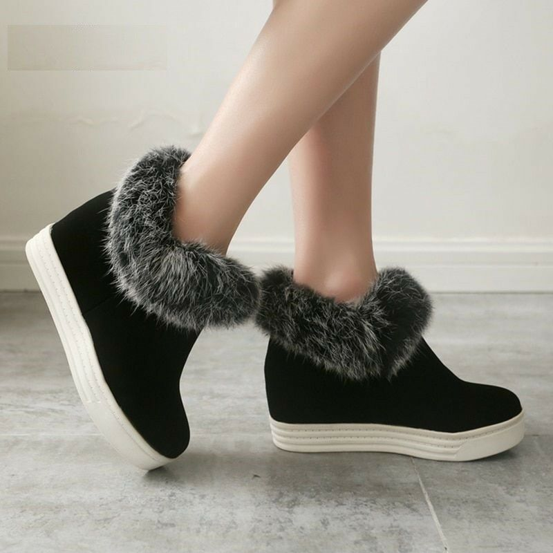 Fashion Black Real Fur Winter Boot Women Warm Height Increasing Ladies Snow shoes