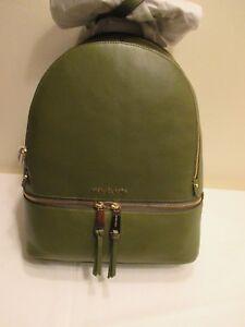 2a50221e87d9 NEW Michael Kors Rhea Zip Large Leather Backpack Olive Green | eBay