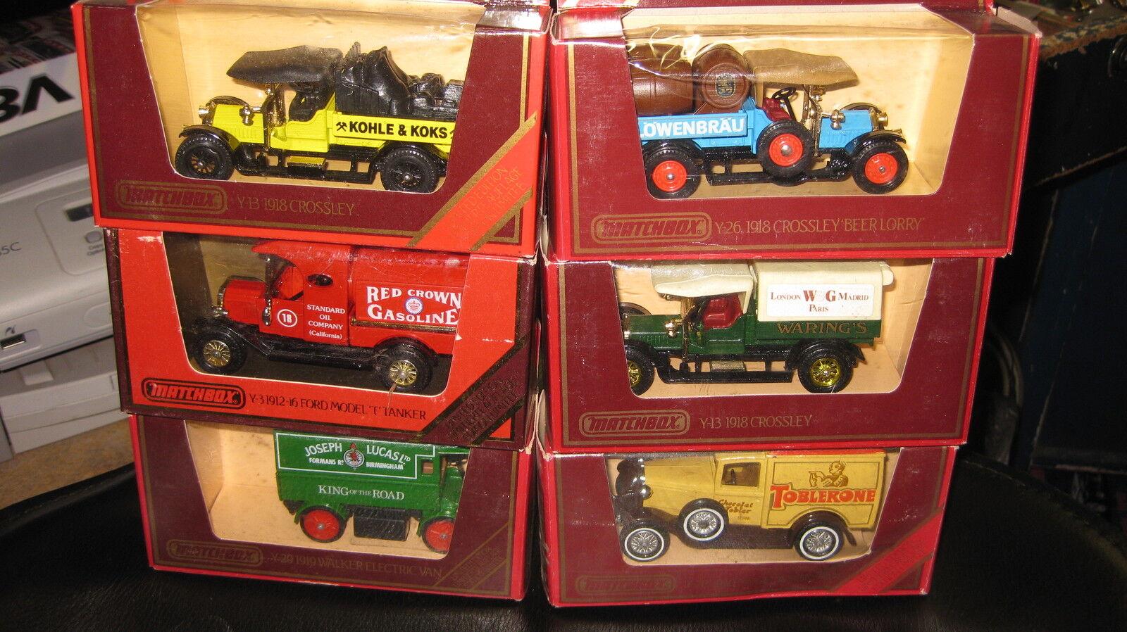 6 X MATCHBOX MODELS OF YESTERYEAR Y-26  Y-13 Y-13 Y-13 x 2  Y-22 Y-12 Y-3   BOXED RARE 833180