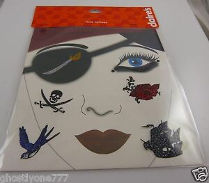Face-tattoos-body-art-skin-Halloween-pirate-skulls-ship-gothic-glitter-red-goth