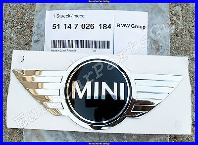 Genuine MINI Cooper r50 r52 Front Hood Emblem Wing Badge w// Adhesive Backing NEW