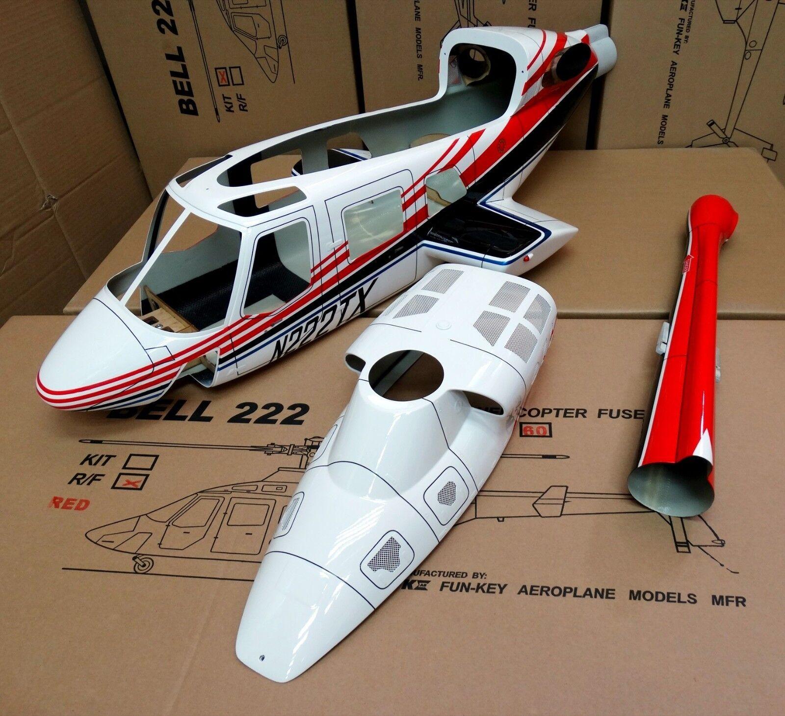 Nueva versión Funkey 700 tamaño Bell 222 escala fuselaje + retirar Rojo tren de aterrizaje
