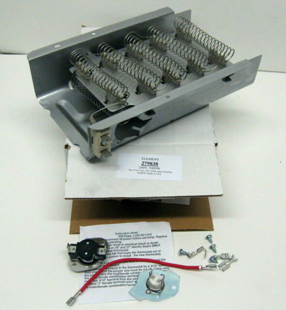 W86PK 279838 & 279816 for Whirlpool Kenmore Heating Heater Element Thermostat