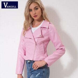 new product 7ee69 8fa09 Dettagli su Giacca giubbetto giubbino donna rosa cipria pelle sintetica  slim morbido g181