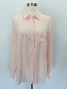 db3d095935ef6 J Crew New Silk Button Up Shirt Top Blouse Subtle Pink Size 10 H6232 ...