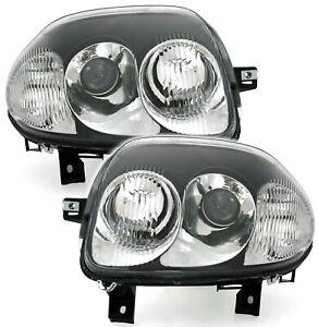 Scheinwerfer Set für RENAULT CLIO 2 9/98-5/01 links + rechts in Schwarz V6 Optik