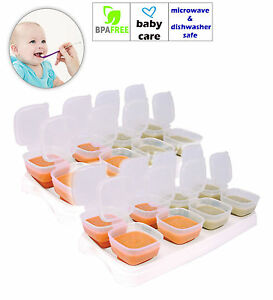2 x Baby Weaning Food Freezing Cubes Pots Freezer Storage Containers