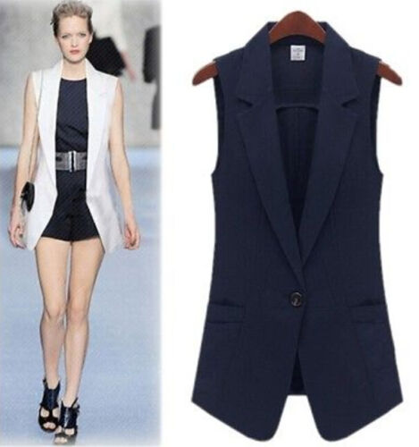 2018 Womens One Button Tailored Lapel Vest Waistcoat Sleeveless Slim Coat Chic