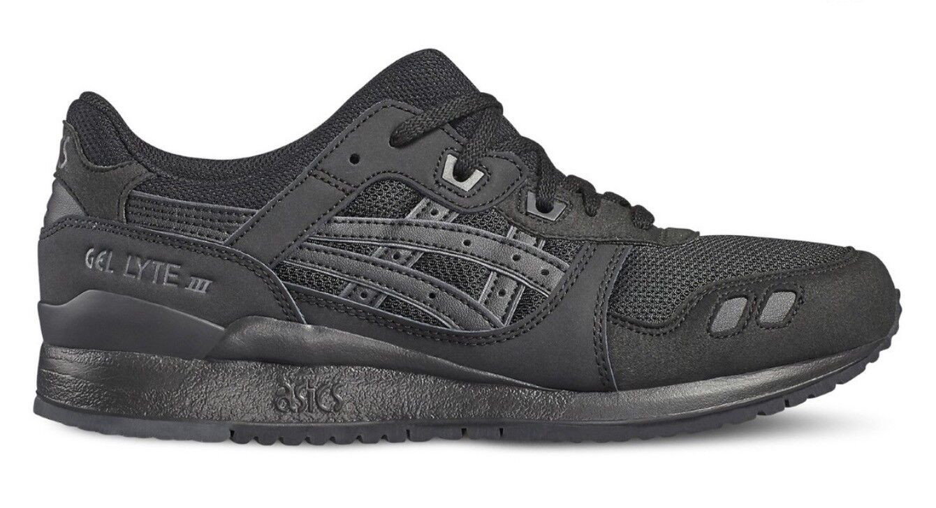 Mens & Junior Asics Gel Lyte III H7N3N 9090 Black Leather Mesh Lace Up Trainers