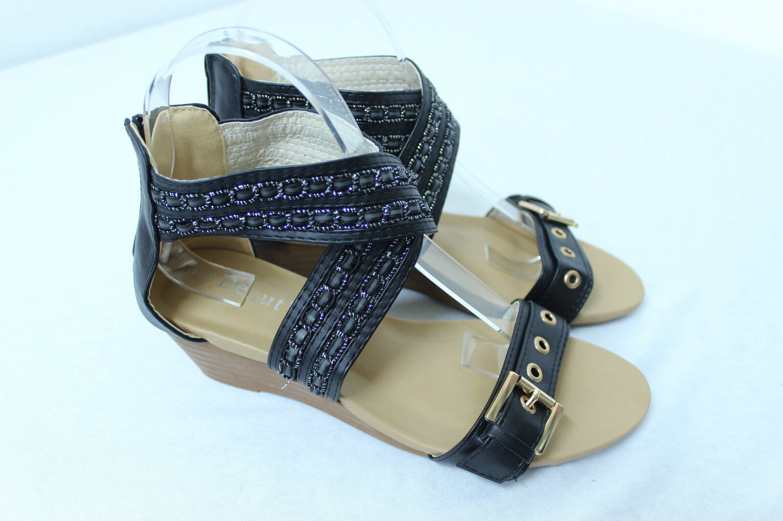 Women's Gold Buckle Party Gladiator Sandals Wedge Heel Party Buckle Shoes BLACK cafd5a