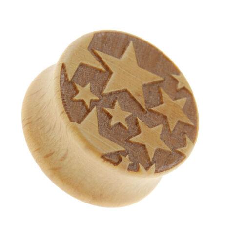 Flesh Tunnel Plug Inlay Piercing Wood Shiny Starling Stars Men/'s Women/'s
