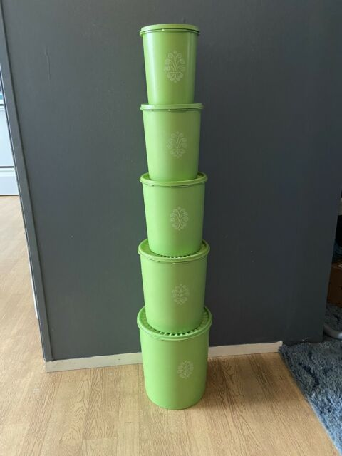 Vintage Tupperware Apple Or Lime Green 5-Piece Canister