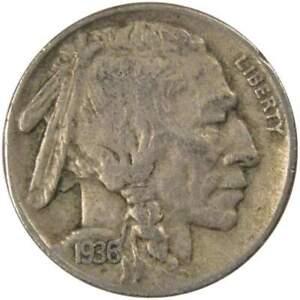 1936 D Indian Head Buffalo Nickel 5 Cent Piece VF Very Fine 5c US Coin