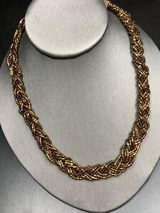 Vintage Boheniman Signed Premier  Designs  Seed Strand Long Necklace Boho Bronze