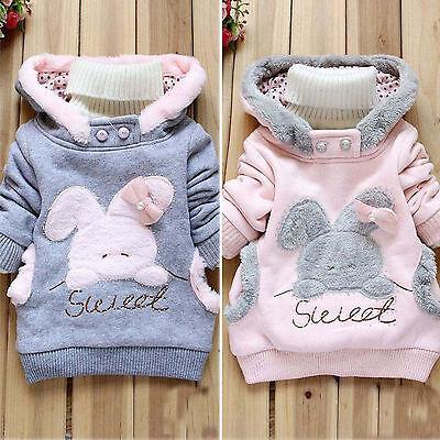 Girls Warm Fleece Rabbit Hoodies Sweater Pullover Jumper Outerwear Tops Coats