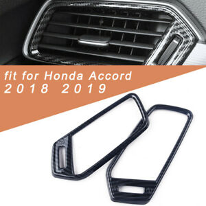 Carbon Interior Dashboard air condition vent cover trim 2x For Honda Accord 2018
