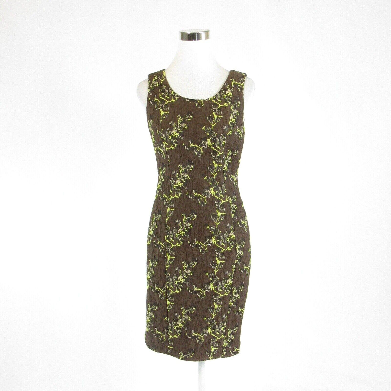 Brown green camouflage ETCETERA sleeveless sheath dress 2