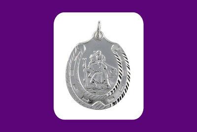 "St Christopher Heart Pendant Sterling Silver 925 Hallmark  14-30/"" Length Chain"