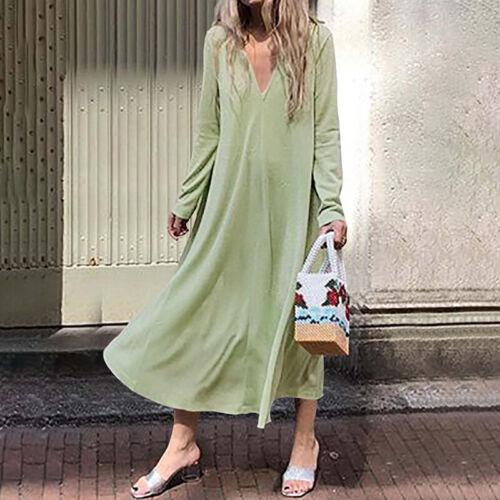 Women Long Sleeve Loose Solid Vintage Long Dress Ladies Autumn Flare Shirt Dress
