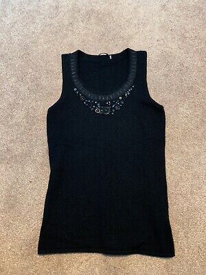 Womens Magaschoni 100% Cashmere Sleeveless Embellished Sweater XS Black Pullover | eBay