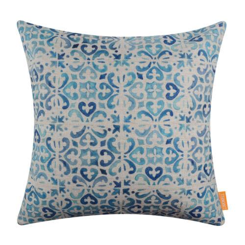Modern Tile Design Cushion Cover Moroccan Blue Pillow Case Home Decor Film Props