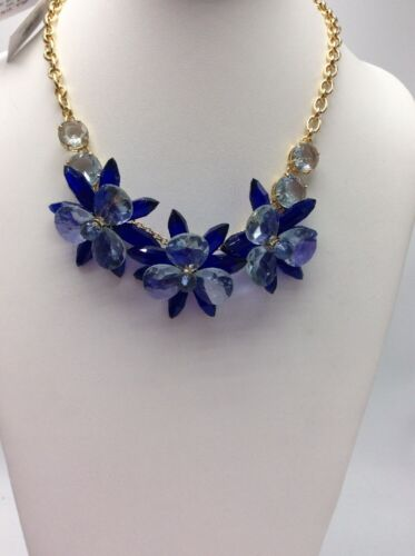 $148 KATE SPADE NEW YORK Blooming Brilliant Statement Necklace Blue #856