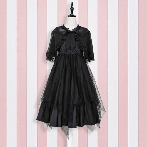 Gothic Lolita Women Girl Ruffle Strap Dress Vintage Cape Clock Japanese Cosplay