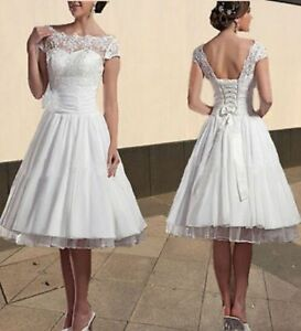Clothing, Shoes & Accessories New  Lace Tea Length Wedding Dress White/Ivory Short Bride Dress Size 6-18