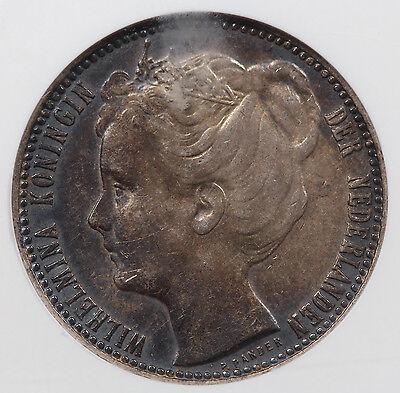 Netherlands 1906 1 Gulden 10 gram Silver Coin NGC AU50 Choice AU KM#122.2 @RARE@