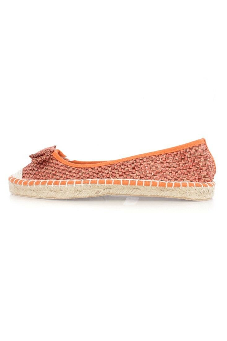 NEW LOT Qupid ORANGE BOW BOW ORANGE TIE ESPADRILLE WEAVED LOAFER TRIMMED FLATS STRAW LINEN e4d71e